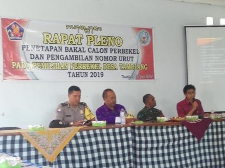 Rapat Pleno Penetapan Bakal Calon Perbekel dan Pengambilan Nomor Urut Periode 2019-2025